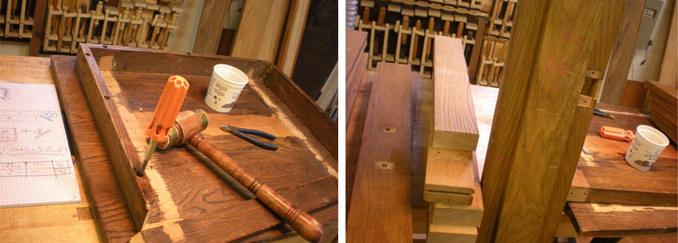 Dis-assembling a discarded oak table (left), Oak door jambs (right)
