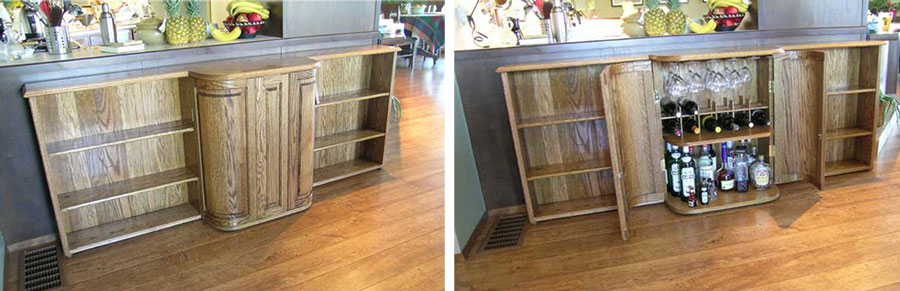 *** Above LEFT and RIGHT:  Book case and cabinet made from oak from various Vancouver area  building demolitions